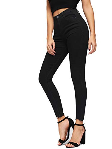 Romwe Women's Raw Hem Skinny Jeans Solid High Waist Super Stretch Slim fit Denim Pants Black #1 Large