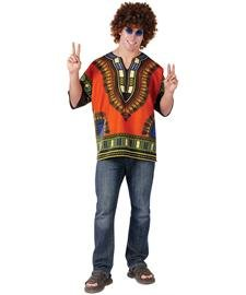 FunWorld 188273 Dashiki Hippie Adult Shirt - Orange - One Size Fits Most Adults (Male Hippie Clothes)