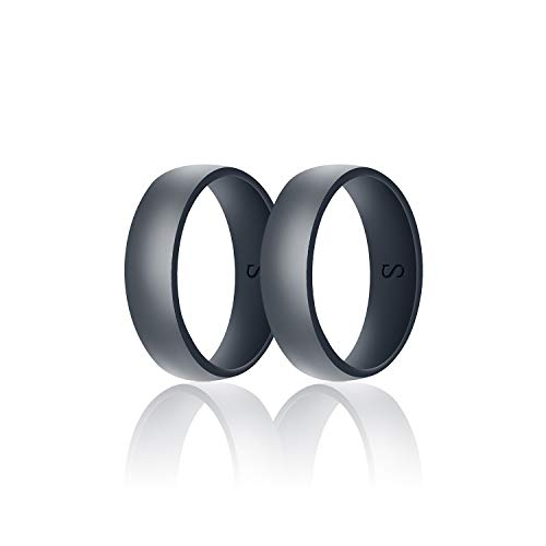 SANXIULY Mens Silicone Wedding Ring&Durable Rubber Wedding Bands Safe and Weight Lifting for Workout and Active Athletes Width 8mm Pack of 2 Color Dark Grey Size - Band Hammered Wedding Diamond