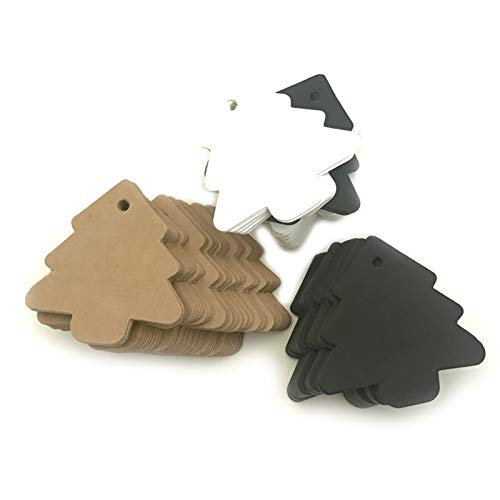 Chris.W 150Pcs Christmas Tree Gift Tags, Assorted Color Gift Wrap Tags, Kraft Paper Blank Price Tag - Pack of 50 White, 50 Black ans 50 Brown Color