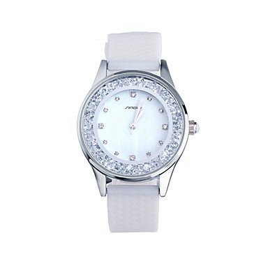 Mens Watches SINOBI Ladies Fashion Wrist Quartz Watch White Silicone Women Wristwatches with Diamond Girls Watches