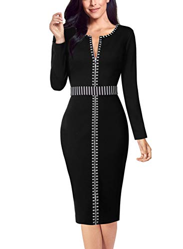 VFSHOW Womens Elegant Zipper Front Work Business Office Party Sheath Dress 1520 BLK M