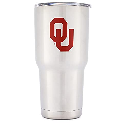 Simple Modern University of Oklahoma Vacuum Insulated Tumbler - Double Walled 18 8 Stainless Steel Travel Mug - OU Sooners Licensed College Tailgating Flask - Coffee Cup - Spirit Collection - - Silver Travel Tumbler