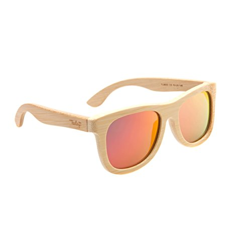 c14dfa6f28c Tacloft Unisex Bamboo Sunglasses for Women Wood Wayfarer Sunglasses  Polarized TL9003 Red