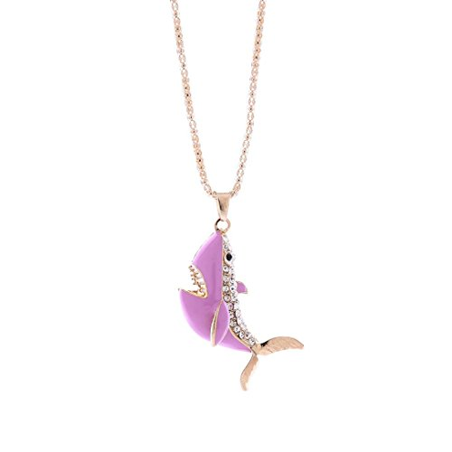 Engagement Pendant Necklace (Delicate Crystal Rhinestone Shark Necklace, Unpara Fashion Women Charm Bridal Engagement Cute Pendant Sweater Necklace (Pink))
