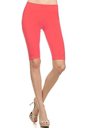 Cotton Jersey Knee Pants - BASICO Women's Seamless Knee Length Capri Leggings (Coral)