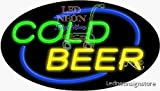 "Cold Beer Neon Sign 17"" Tall x 30"" Wide x 3"" Deep"