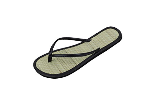 Bamboo Flip Flops Thong Sandals - SB Womens Faux Bamboo Metallic Thong Flip Flops Beach Sandals Black 10