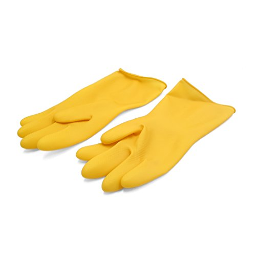 uxcell 2pcs Yellow Rubber Waterproof Universal Car Cleaning Washing Mitten Glove