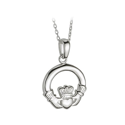 Solvar Sterling Silver Small Claddagh Heavy Pendant on a Chain