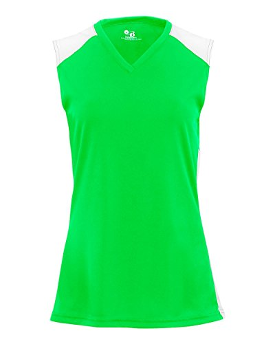 - Ladies Lime/White Small Performance Sports Sleeveless V-Neck 2-Color Wicking Jersey