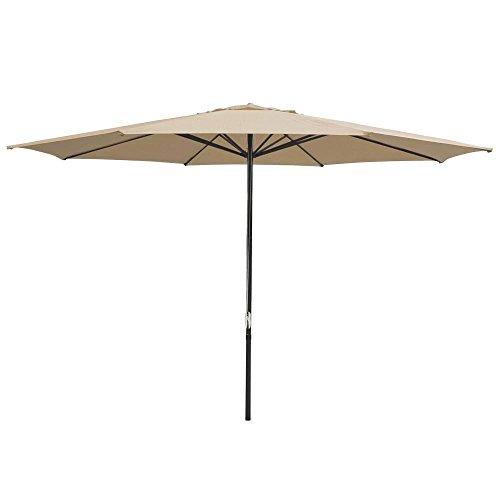 Yescom 13' Tan Sun Shading Aluminum Patio Umbrella UV30+ for Outdoor Market Garden Beach Table Deck