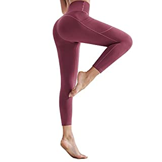 Women High Waisted Ultra Soft Yoga Pants with Pockets Workout Capri Leggings Tummy Control 7/8 Running Pants Red Large