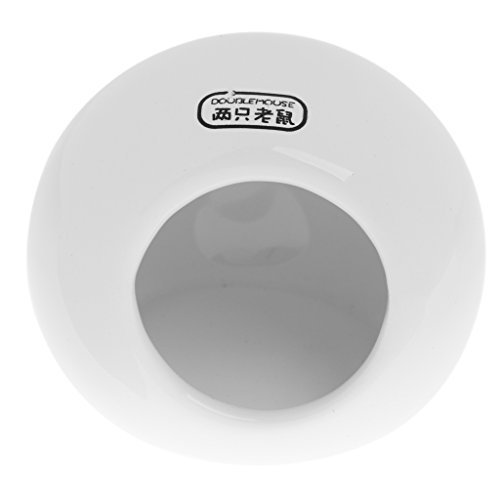 (DYNWAVE Ceramic Hideout Hut for Small Animals Like Dwarf Hamster Mouse Mice Rat Gerbil (Ball Shape) - White)