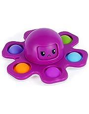 Pop Fidget Spinner Face-Changing Octopus Gyro Toy Eenvoudige Dimple Fidget Vinger Toy Hand Spinner Druk Bubble Fidget Spinner Speelgoed Anti-Angst Stress Relief Zintuiglijke Speelgoed voor ADHD ADD Autistic Kids Volwassen