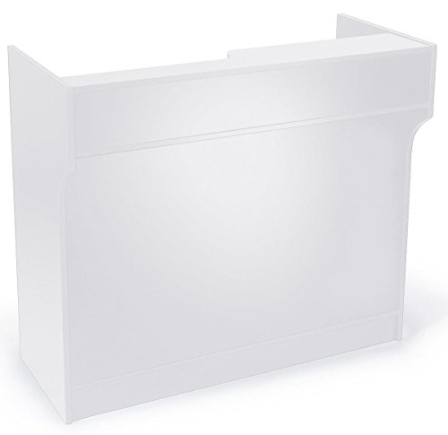 "Displays2go 48"" Cash Wrap with Storage, Laminated Particle Board, Shelves, Drawer – White Finish (MRCLT48WH) Cash Wrap"
