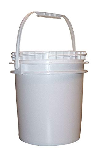 2.5 gal. High Density Polyethylene Round Pail, White pack of 5