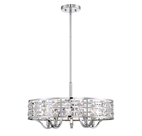 Trade Winds Lighting 5-Light Industrial Pendant with Crystals in - Crystal Pendant Light 5