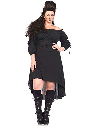 Leg Avenue Women's Size Plus High Low Peasant Dress, Black, 3X / 4X
