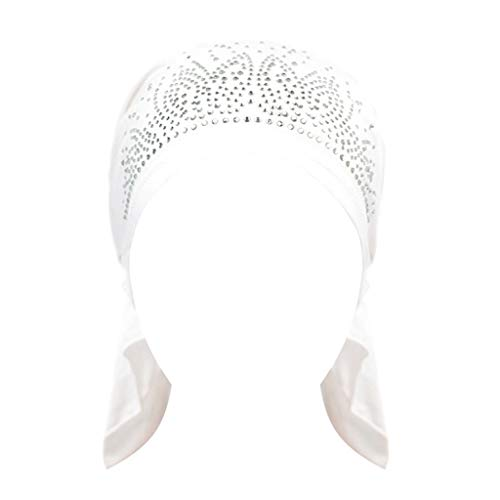 FEDULK Women Head Wraps Diamond Elasticity Scarf India Muslim Islam Hat Stretch Chemo Caps(White) (Best Dd Cream In India)