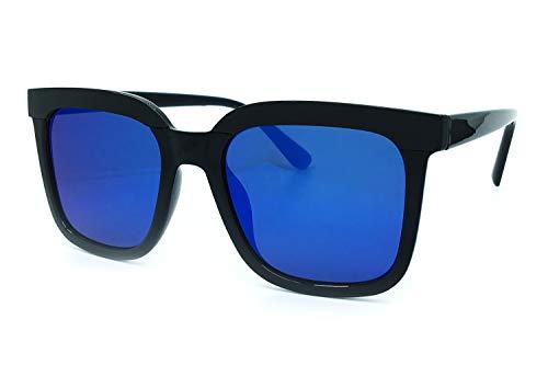 Focus Blue Eye Shadow - O2 Eyewear 1870 Premium Oversize XL Women Men Mirror Revo Havana Tilda Shadow Style Fashion Sunglasses (BLUE, 52)