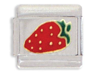 (Clearly Charming Strawberry Italian Charm Bracelet Link)