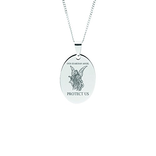 DMD Collection Stainless Steel Guardian Angel Oval Prayer Pendant on Chain (Cable Chain - 20