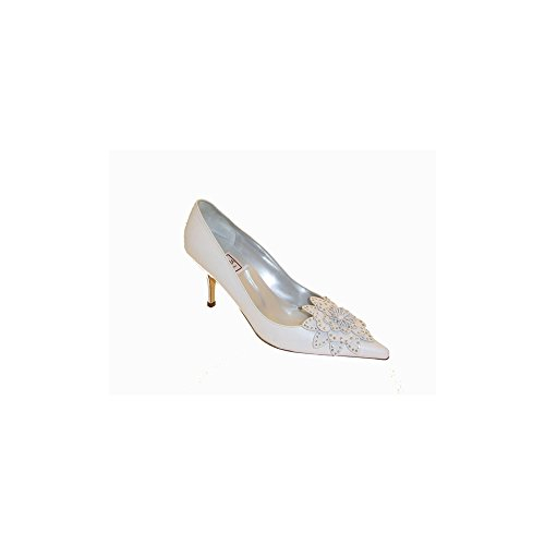 White Court Renata Flower Big Shoe White Diamante wq8dC8W5