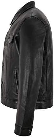 Men/'s Trucker Noir Véritable en Cuir et Daim Classique Style Western Confortable Veste