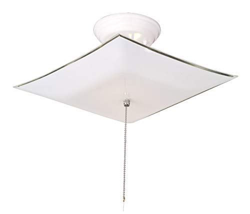 (Design House 517805 2 Light Ceiling Light with Pull Chain, White)