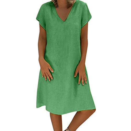 - iHPH7 Women's Short Sleeve Pockets Empire Waist Pleated Loose Swing Casual Flare Dress Style T-Shirt Cotton Casual Plus Size Ladies Dress (L,3- Grass Green)