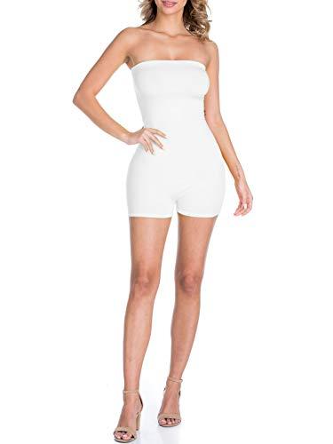 BEYONDFAB Women's Neon Plain Off Shoulder Shorts Romper Jumpsuit White S