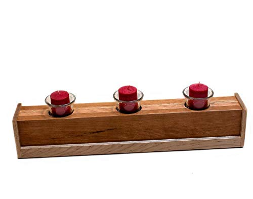 Handmade Wood (3) Glass Votive Candle Holder, made of Cherry, Maple and Oak, Block Candle Holder, Home Accent ()