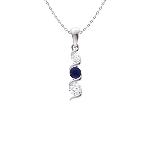 (Diamondere Natural and Certified Sapphire and Diamond Three Stone Necklace in 14k White Gold | 0.22 Carat Journey Pendant with Chain)