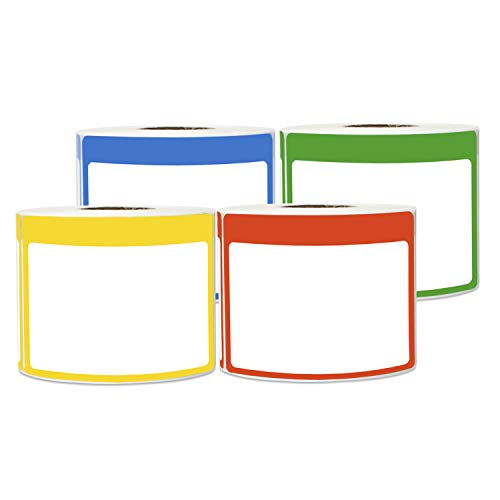 (1200 Labels - Name Tag Sticker Bundle Write-in with Colorful Border for Visitor Badges (3.5 x 2.25 Inch, Blue/Green/Red/Yellow, 4 Rolls))