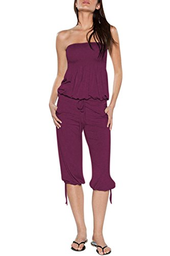 Capri Spandex Tie - Selowin Women Strapless Tube Top Ruched Tie Waisted Pocket Jumpsuit Rompers Purple M