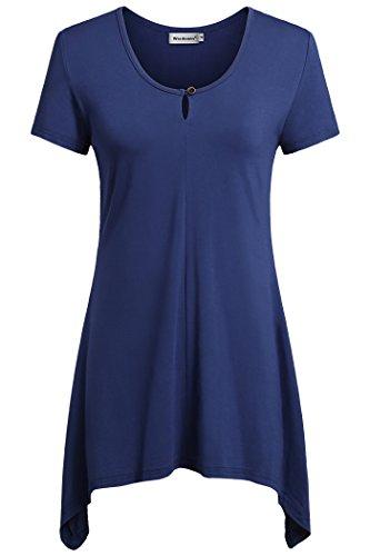 Wisdemin Women Flattering Casual Tops Short Sleeve Handkerchief Hem Tunic Blue L