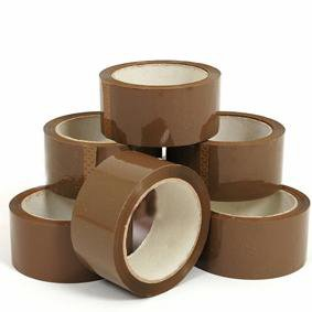 6x Brown Buff Parcel Packing Tape - 48mm x 66m