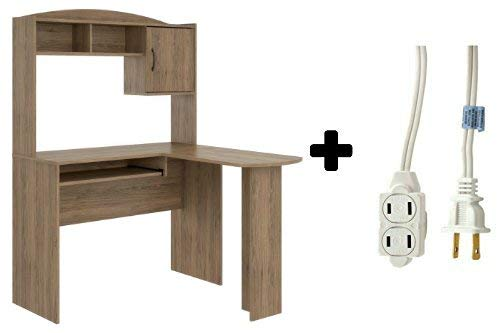 Corner L Shaped Wood Office Desk with Hutch in Rustic Oak Plus 6-ft White Indoor Polarized Extension Cord 3 outlets