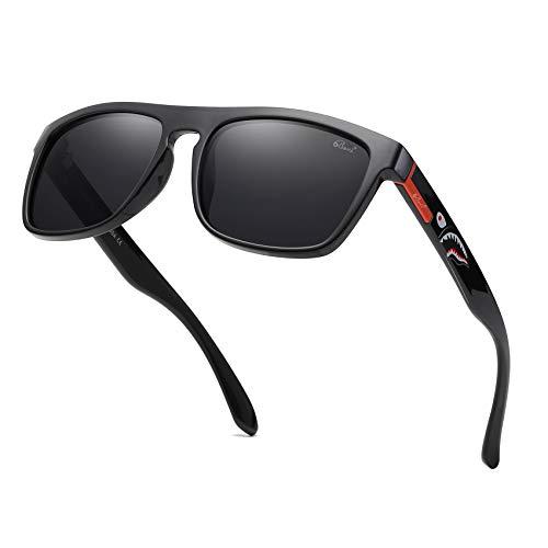 Bevi Polarized Sports Sunglasses Unisex Square Retro Wayfarer for Men Women Driving Skateboard 6018C4