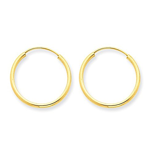 14K Yellow Gold Continuous Endless Hoop Earrings, .65 In (17mm) (1.5mm Tube) 14k Yellow Gold Thick Hoop