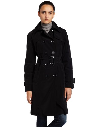 (London Fog Women's Feminine Trench Coat, Black)