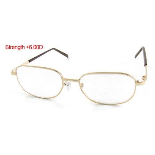 TOOGOO(R) Gold Tone Metal Frame Presbyopic Reading Glasses +6.00