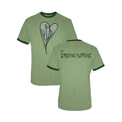(The Smashing Pumpkins Distressed Heart Heather Green Adult T-shirt Tee (Large))