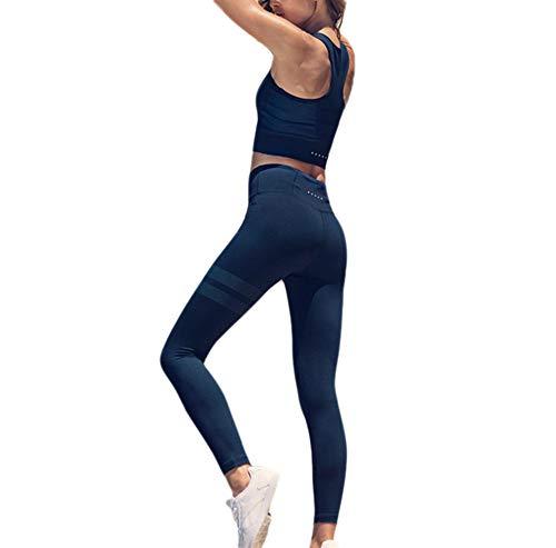 Halter Fitness Set Sportswear Yoga Donne set Blu Tute 2 Strap Wrap Pz Sexy Pantaloni Vest Cross Le Sport Splicing wqtvAwg