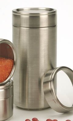 """Stackable Spice Jars - Spice Tins Set of 4 (Stainless Steel) (5.5"""" H x 2.5"""" Diameter)"""