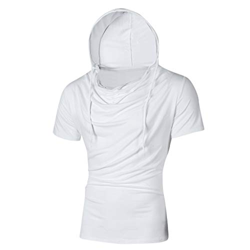 Stylish Personality Tops Tees Short Sleeve Man Hooded Casual T-Shirt Blouse White