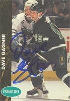 Dave Gagner Minnesota North Stars 1991 Parkhurst Autographed Card. This item comes with a certificate of authenticity from Autograph-Sports. Autographed -