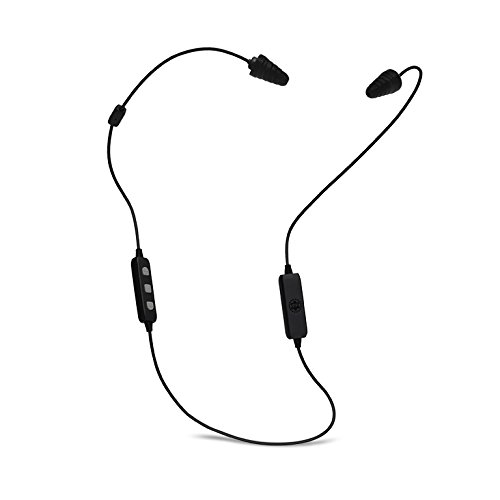Plugfones Liberate 2.0 Wireless Bluetooth In-Ear Earplug Earbuds- Noise Reduction Headphones with Noise Isolating Mic and Controls (Black & Gray)