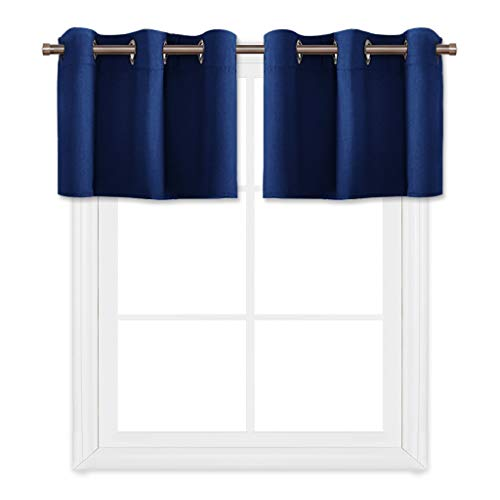 PONY DANCE Navy Blue Window Curtain Tier Valances Ring Top Thermal Insulated Blackout Tiers for Small Windows in Kitchen & Bathroom, 42'' W x 18'' L, Set of 2 by PONY DANCE